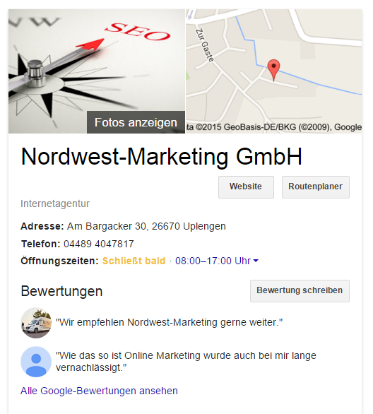 Screenshot: Google-My-Business-Eintrag